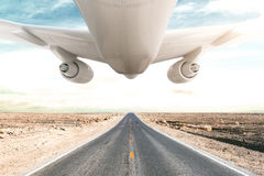 Airplane. Took off from the runway. 3D Rendering Royalty Free Stock Image