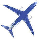 Airplane top view. Vector illustration airplane. Airline Concept Travel Passenger plane. Icon of Jet commercial airplane isolated. On a white background Stock Photography