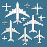 Airplane top view vector illustration. Stock Photos