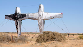 Airplane totem. A strange airplane totem in the desert, Australia stock photography