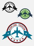 Airplane tour logo. For transportation, business, aviation, and tourism design Stock Photo