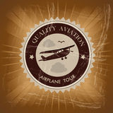 Airplane tour. Over vintage background  illustration Stock Image