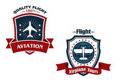 Airplane tours and aviation icons Royalty Free Stock Images