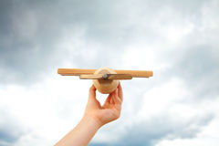 Airplane toy in the sky Stock Photo