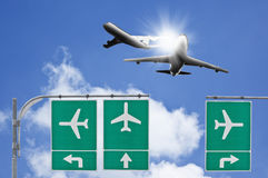 Airplane traffic sign Stock Photography
