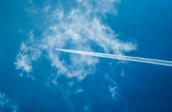 Airplane trail in the blue sky. Airplane trail in the cloud and blue sky Royalty Free Stock Photos