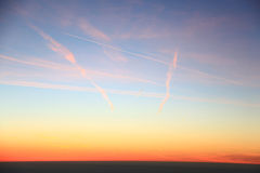 Airplane trails Royalty Free Stock Photos