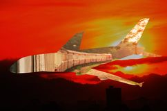 Airplane and train Concept transportation with sunrise Morning sky. double exposure.  Royalty Free Stock Image