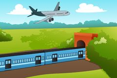 Airplane and Train Illustration stock photos