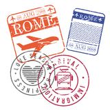 Airplane and train travel stamps of rome in colorful silhouette. Vector illustration Royalty Free Stock Image