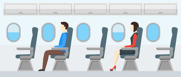 Airplane Transport Interior Retro. Travel Passengers in Jet. Vector Royalty Free Stock Photos