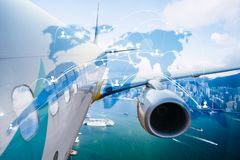 Airplane transportation around the world, global network. With technology royalty free stock photo