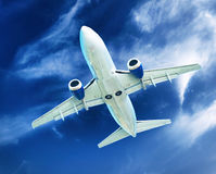 Airplane transportation. Jet air plane Stock Photo