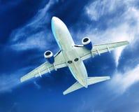 Airplane transportation. Jet air plane stock photo
