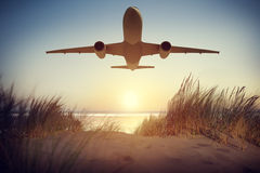 Airplane Transportation Travel Flying Concept Stock Images