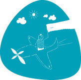 Airplane travel. Young boy in Airplane with blank banner Stock Photography