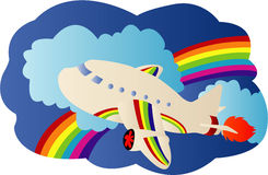 Airplane travel. Illustrations vector of Airplane travel Royalty Free Stock Photography