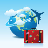 Airplane travel 4. Illustration of airplane travel on globe Royalty Free Stock Image