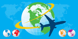 Airplane Travel. Vector airplane travel with globes Stock Images