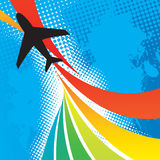 Airplane Travel Abstract. Silhouette of an airplane flying over an abstract rainbow colored backdrop with splattered halftone accents Stock Image