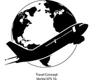 Airplane for Travel Around the World Vector Illustration Icon Stock Photography