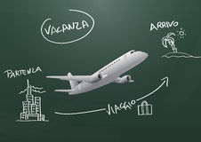Airplane travel chalkboard Stock Photography