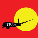Airplane with travel color  Royalty Free Stock Images
