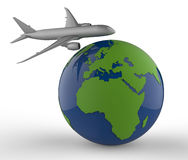 Airplane travel concept. 3D illustration of an airplane travel around the globe. The concept is isolated on a white background with shadows Stock Photo