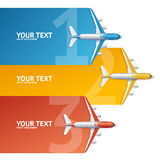 Airplane Travel Concept Option Banner. Vector Stock Image