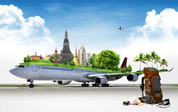 Airplane Travel, concept. Airplane Travel in thailand, concept Stock Images