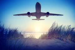 Airplane Travel Destination Outdoors Concept Stock Photography