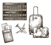 Airplane travel doodles. Hand drawn. Vector. Royalty Free Stock Images