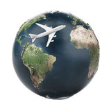 Airplane travel  (Earth map provided by NASA) Royalty Free Stock Photos
