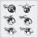 Airplane travel labels, emblems, badges and design elements. Vintage style. Black and white Stock Image