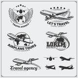 Airplane travel labels, emblems, badges and design elements. Vintage style. Black and white Stock Images