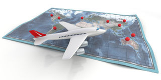 Airplane travel on map. Airplane crossing over a flat world map on white background. Clipping path included stock illustration