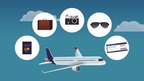 Flight and travel HD animation royalty free illustration