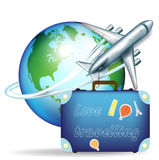Airplane and travel suitcase. Airplane with globe and travel suitcase Royalty Free Stock Photography