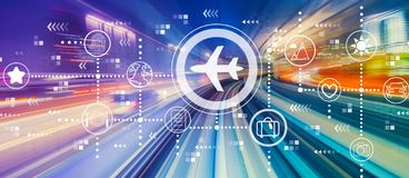 Airplane travel theme with high speed motion blur royalty free illustration