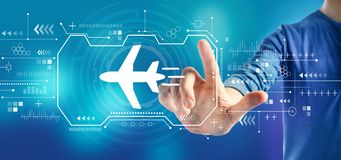 Airplane travel theme with a man royalty free stock image