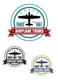 Airplane travel tours icon with plane Royalty Free Stock Images