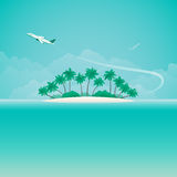 Airplane travel or tropical voyage vector banner with copyspace in flat style Royalty Free Stock Photography