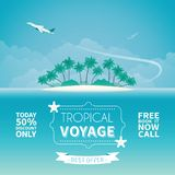 Airplane travel or tropical voyage vector concept in flat style.  royalty free illustration