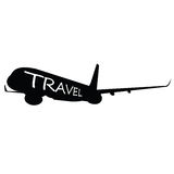 Airplane with travel word on it Royalty Free Stock Photo