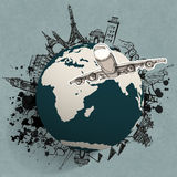 Airplane traveling around the world. As concept Stock Photography