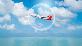 Free Airplane Traveling In Bubble Representing International Travel Bubble Concept Royalty Free Stock Photos - 186010568