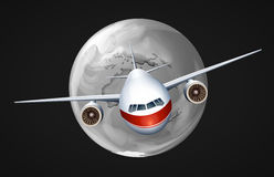 An airplane travelling around the globe. Illustration of an airplane travelling around the globe on a black background Royalty Free Stock Photography