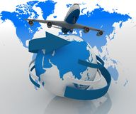 Airplane travels around the world Royalty Free Stock Photo
