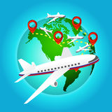 Airplane travels around the world with pin icon, Elements of earth map Furnished by NASA Stock Image