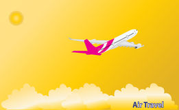 Airplane in tropical holiday location. Royalty Free Stock Photography